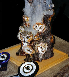 "Award-winning Carving, ""Owls"" by Lindsay Branson"